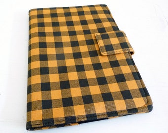 Gold and Black Plaid Print Kindle 2 Cover, Book Style Case for 2nd Gen Amazon Kindle