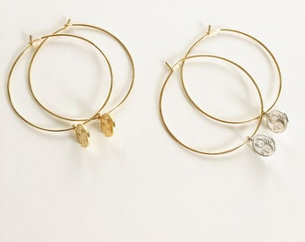 Zodiac cosmic gold or silver hoops (request zodiac sign at checkout)