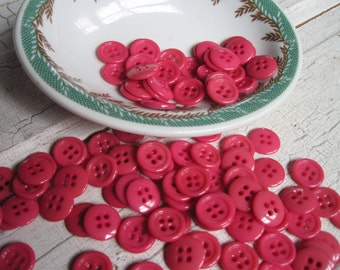 buttons vintage bright pink set of 25