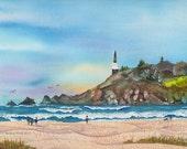 SALE Oregon Coast original Lighthouse beach ocean coast watercolor painting by Melanie Pruitt ebsq sfa