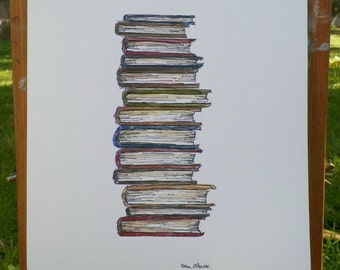 Stack of Books Print of My Watercolor Art Print by Artist Debra Alouise