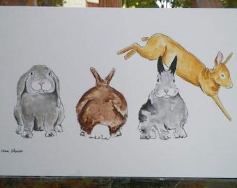 Bunny Rabbit Line Up Jumping Bunny Watercolor Bunny Art Original Painting by Artist Debra Alouise