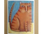 Cat Folk Art, Orange Tabby, Cat Print, Outsider Art, Cat with Attitude, Quirky Portrait, Funny Art, Grumpy Cat, Orange Tabby Art,