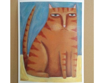 Cat Folk Art, Orange Tabby, Cat Print, Outsider Art, Cat with Attitude, Quirky Portrait, Funny Art, Grumpy Cat, Orange Tabby Art,