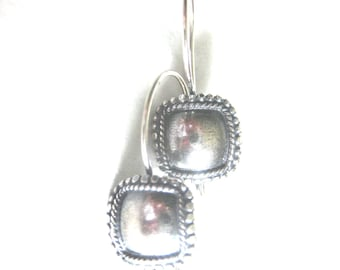 MS Square Convex Earwires 2 pairs Bali Sterling Silver Fair Trade