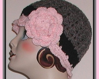 Gray Pink Black Flapper Hat Women Cloche Charcoal Grey Flower Winter Head Gear Ladies