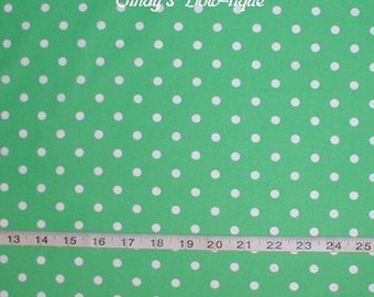 Lime Green Fabric White Polka Dot Dots Cotton