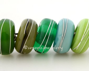 Buyers's Choice GREEN European Charms with Fine Silver - Handmade Lampwork beads - taneres ivory brown sage beige