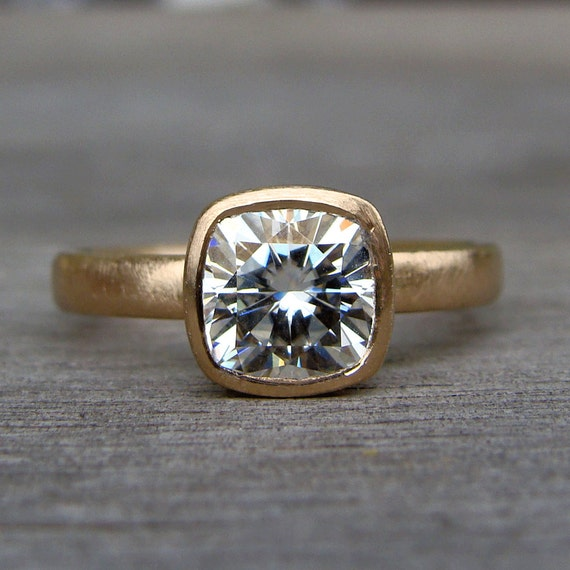 Moissanite Ring - Square Cushion Cut, Forever One G-H-I, Recycled 14k  Yellow Gold (
