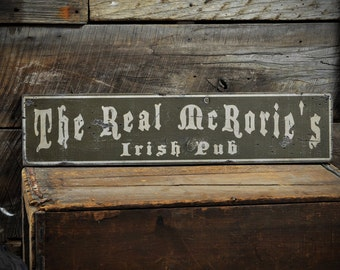 Custom Family Irish Pub Sign - Rustic Hand Made Distressed Wooden ENS1000725