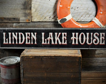 Custom Family Lake House Sign - Rustic Hand Made Distressed Wood ENS1000798
