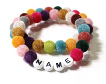 FUZZY! Fuzzy beaded bracelet for girls. Great gift for tweens. Colorful, unique, and fun. Stretch bracelet personalized name bracelet gift