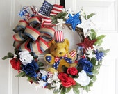 Patriotic Wreath with Bear, Front Door Wreath, Red,White and Blue Wreath, Americana Wreath, 4th of July Wreath-