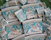 Mosaic Tiles Broken Plates Tesserae Art Supply Vintage Hand Cut Blue Dragon Crest China Pieces Set Assortment