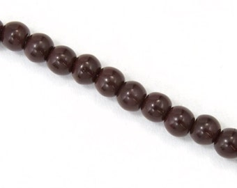 6mm Opaque Mahogany Druk Bead (50 Pcs) #GAD010