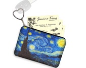 Starry Night Business Card Holder Keychain Change Purse Small Zipper Coin Purse Key Fob Bridesmaid Gift Van Gogh blue yellow black RTS