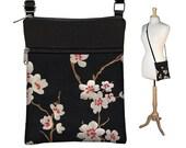 Plum Blossom Small Cross Body Purse  Black Crossbody Bag Sling Shoulder Bag Fits eReaders Asian Cherry Blossom red white MTO