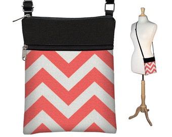 SALE Chevron Sling Bag Shoulder Purse Crossbody Bag Small Travel Purse Zipper coral orange chevron RTS