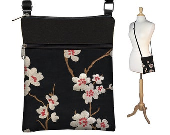 Plum Blossom Small Cross Body Purse  Black Crossbody Bag Sling Shoulder Bag Fits eReaders Asian Cherry Blossom red white MTO