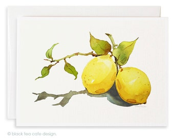 Lemon Note Card, Stationery, Garden watercolor cards, watercolor note card