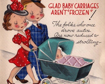 Vintage 1940's Congratulations On Your Baby Greetings Card (B15)