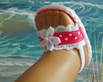 18 Inch Doll Clothes Sandals Bright Pink Shoes With White Lace Accents You Choose Size