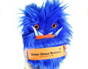 Children's monster journal Worry Woolie a blue, fuzzy, magical book