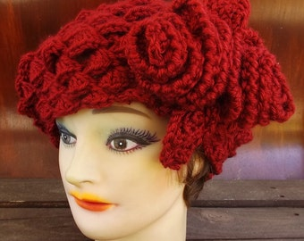 Crochet Beret Hat,  Crochet Hat Womens Hat Trendy,  Womens Crochet Hat,  Shell Stitch,  Crochet Flower Autumn Red Hat,  Karen Beret Hat