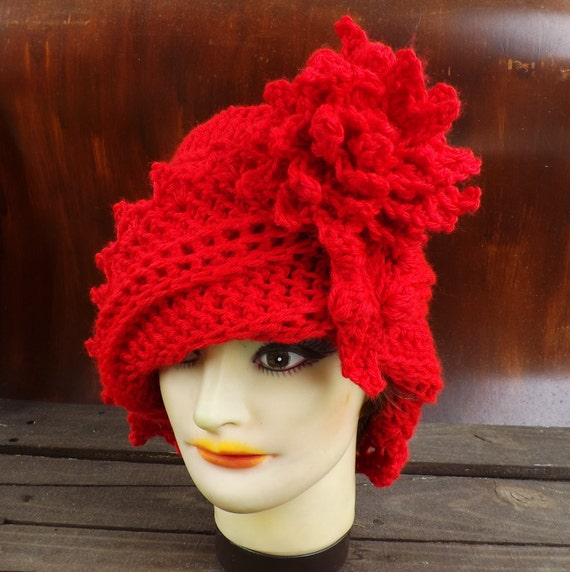 Red Cloche Hat 1920s Hat, Crochet Cloche Hat, Flapper Hat, Red Crochet Hat, Designer Cloche Hat, Steampunk Cloche Hat, Winter Cloche Hat