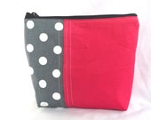 Zipper Make up Cosmetic Pouch - Dark PInk with Gray Polka Dot