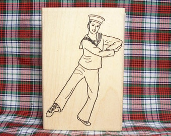 Hornpipe Highland Dancer #1 Rubber Stamp Scottish Dance Heritage