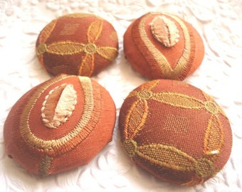 Brown buttons,  fabric buttons, embroidered button, size 60 buttons, set of 4 buttons