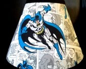 ON SALE Batman Superhero Lampshade Lamp Shade handmade with Pottery Barn Kids fabric, Any Color Trim, 4 Sizes