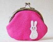 Rabbit coin purse change purse white rabbit bunny hot pink fuchsia animal cute kawaii valentines day  frame pouch rabbit purse