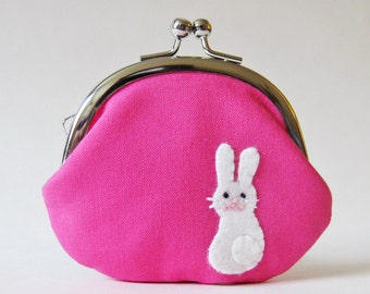 Rabbit coin purse change purse white rabbit bunny hot pink fuchsia animal cute kawaii valentines day  frame pouch rabbit purse