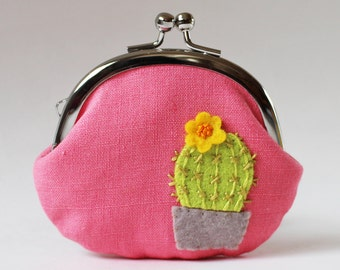 Coin purse cactus with yellow flowes green cactus pink linen spring floral succulent cute kawaii plant change purse kiss lock clasp purse
