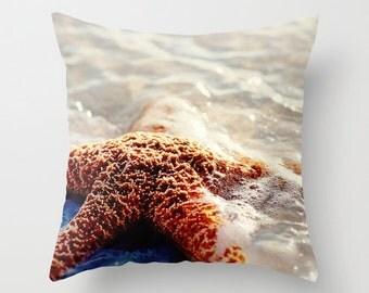 decorative pillow cover, throw pillow, photography pillow cover, home decor, starfish photography, beach decor, starfish pillow