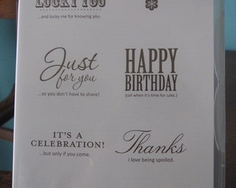 Used Like New! Afterthoughts Stampin' Up! hostess retired rubber stamp set (6)