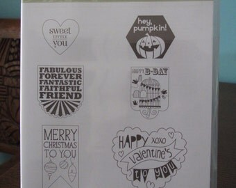 NEW Perfectly You Stampin' Up! retired rubber stamp set Hostess (6)