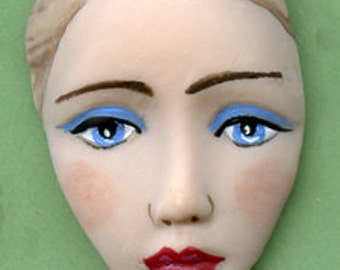 Polymer Clay  Detailed  Art  Face Cab Undrilled DMF 1