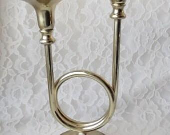 Vintage Brass 2 Arm Candelabra Trumpet Horn Candle Holder Christmas Holiday Decor