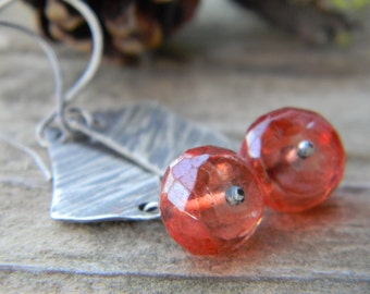 rustic textured silver earrings with vibrant tangerine quartz - oxidized silver