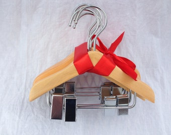 3 Bundles of 6 Wooden Doll Hangers with Clips