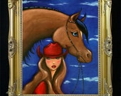 Big Sky Country Cowgirl Woman and Horse Colorful Art Print from Original Art by Shano - Feminine Sexy Elegant Montana Cowboy Hat