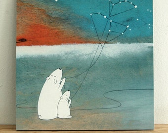 """The Great Bear and the Little Bear - 8""""x8"""" Mounted Print"""