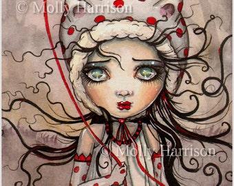 Sweet Baboo with Balloon - Big Eye - Big Eye Baby Doll - Cute Fantasy Artwork by Molly Harrison - Illustration