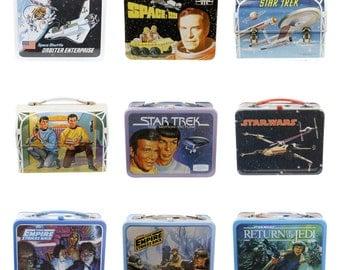 Retro Lunchbox Magnet - Star Wars, Star Trek, Space:1999, Space Shuttle, Return of the Jedi, Empire Strikes Back, Spock, Captain Kirk