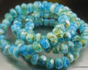 Picasso Czech Glass Beads Czech Rondelle Beads 3x5mm Sea Blue Picasso - 30 pcs (G - 175)