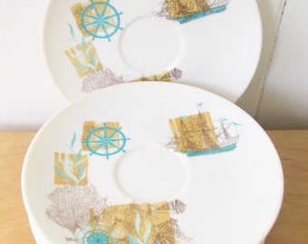 7 vintage nautical melmac saucers by Oneida