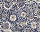 Chiyogami or yuzen paper - Pop Art Umbrellas - ultramarine and wedgewood blue with gold outlines, 9x12 inches